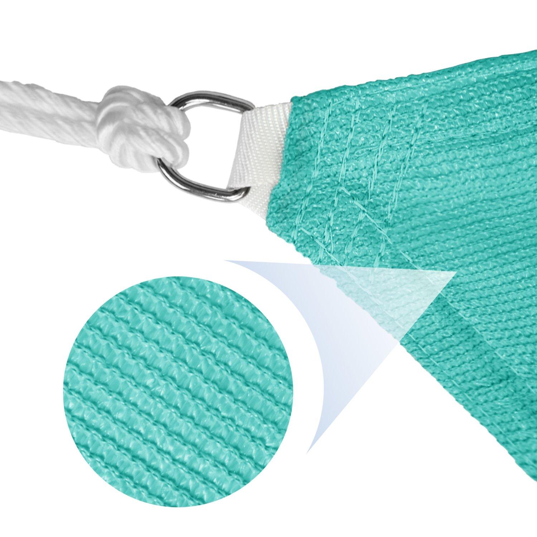 E K Sunrise 13 x 19 Turquoise Green Rectangle Sun Shade Sail Outdoor Shade Cloth UV Block Fabric,Curve Edge-Customized