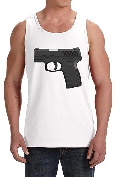 6019da7d4f3 Pistola Camiseta De Tirantes Para Hombre Blanco Todos Los Tamaños ...