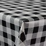 Gingham Black Wipe Clean PVC Vinyl Tablecloth Cover Protector in Width 140cm – Sold by the metre