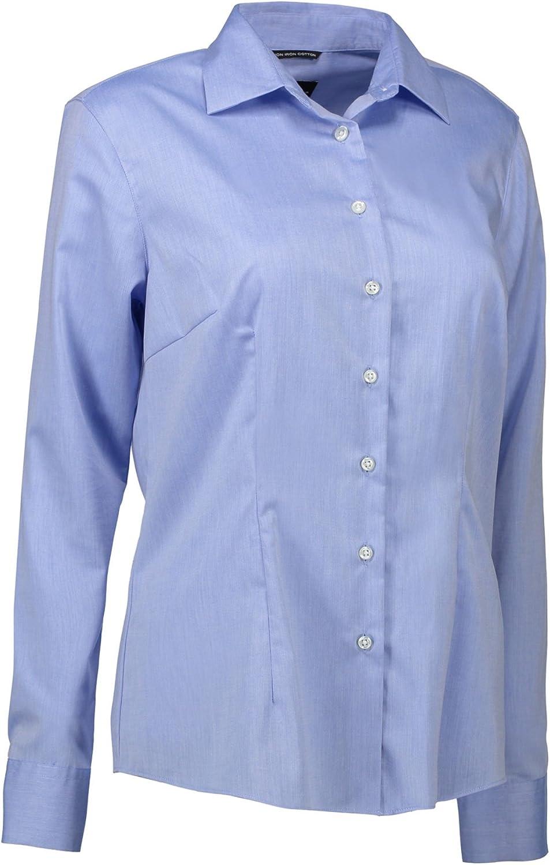 ID - Camisa abotonada y entallada de fácil planchado para mujer: Amazon.es: Ropa y accesorios