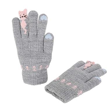 Enfant gants hiver Gants Chat Mitaine de doigt complet Gants Fille Gants  Chaud en Peluche Moufles 247f2151de9