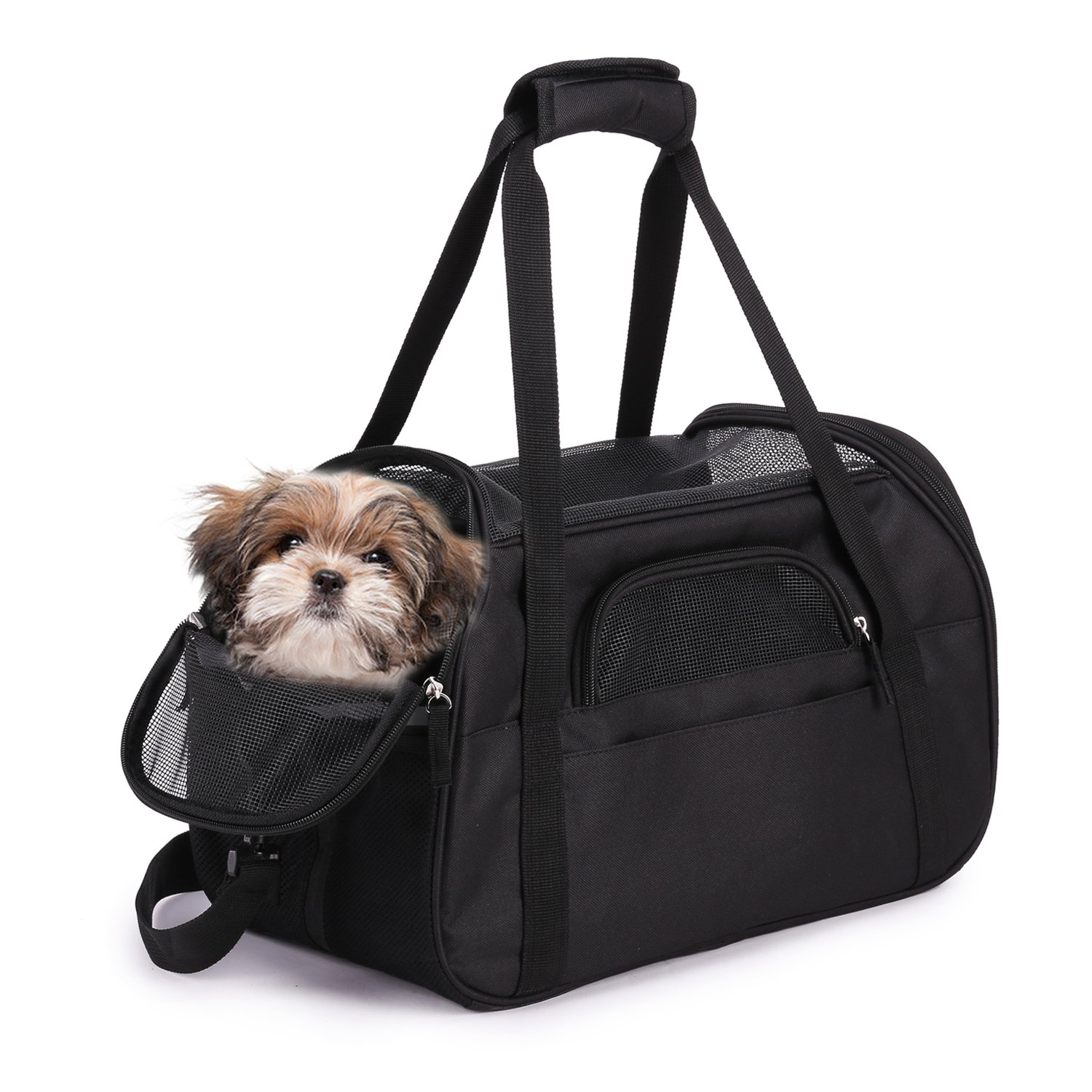 """Jespet Soft Sided Pet Carrier Comfort 17"""" for Airline Travel, Portable Dog Tote Bag for Small Animals, Cats, Kitten, Puppy, Black"""