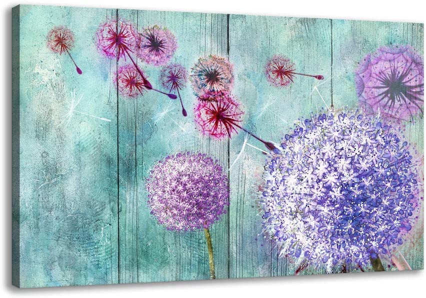 Canvas Wall Art for Living Room, Purple Dandelion Flower Framed Art Glycee Canvas Pictures for Bathroom Office Master Bedroom Walls Floral Paintings Teal Blue Print Artwork for Modern Home Decorations
