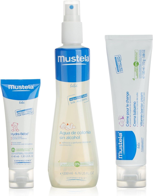 Mustela estuche fragancia agua de colonia 200 ml + crema bálsamo 100 ml + crema facial 40 ml + mochila: Amazon.es: Belleza