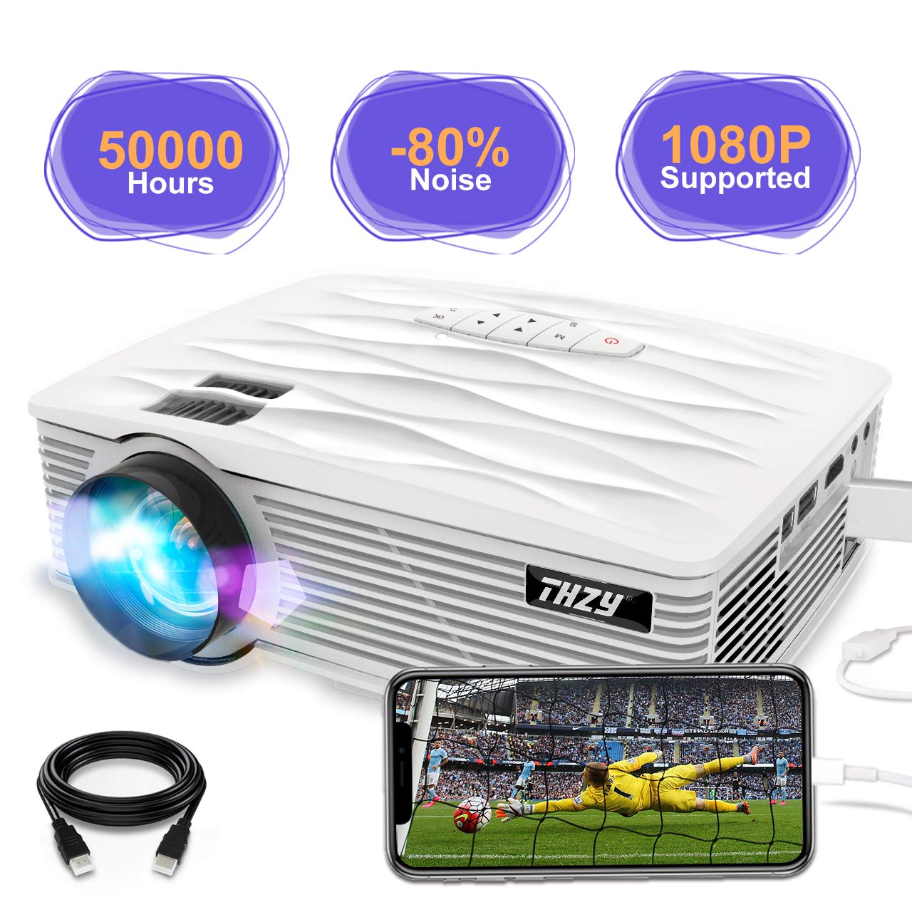 THZY Mini Projector 2200 Lumens Portable Video Projector,50000 Hours Multimedia Home Theater Movie Projector 1080P Support,Compatible with Amazon Fire TV Stick HDMI,VGA,USB,AV,Laptop,Smartphone