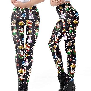 AMUSTER Pantalon Skinny Pantalon Leggings imprimé de noël Pantalon Stretch Pantalon  imprimé Floral Nouveau Mouvement de 5d0128159f8
