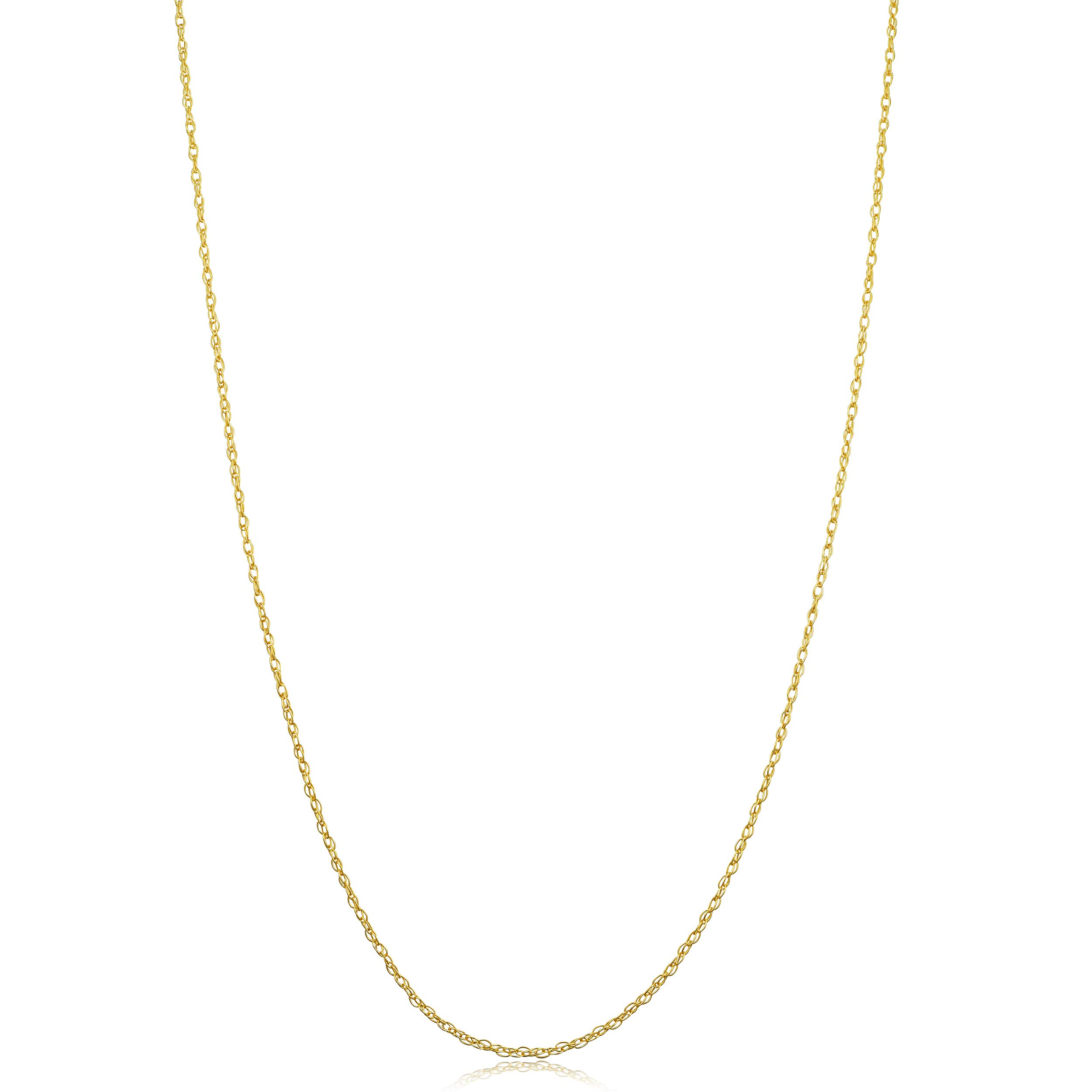Kooljewelry Solid 14k Yellow Gold Rope Chain Necklace (20 inch, 0.9 mm wide) by Kooljewelry