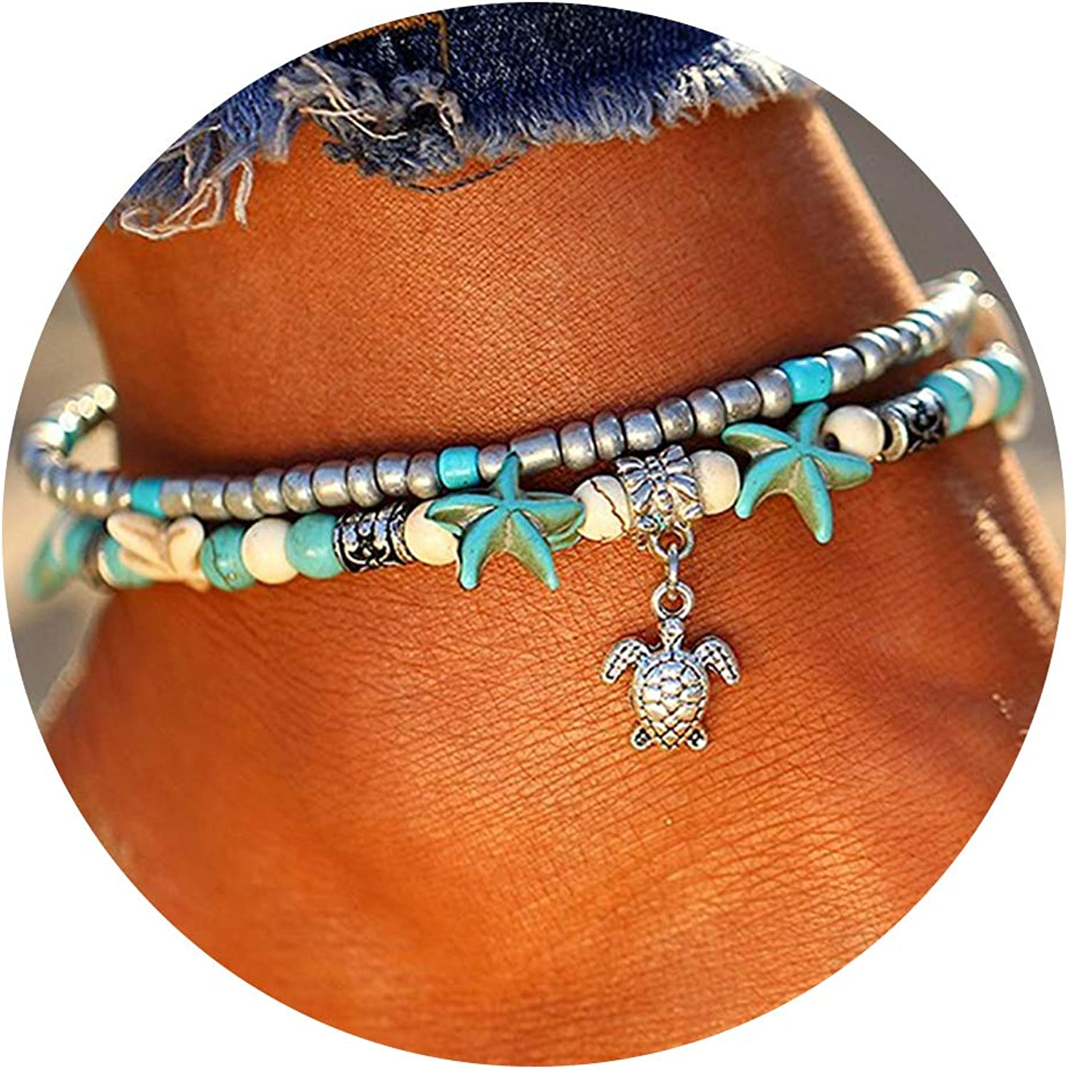 FINETOO Starfish Multilayer Charm AnkletBeads Sea Handmade Boho Anklet Foot Jewelry for Women