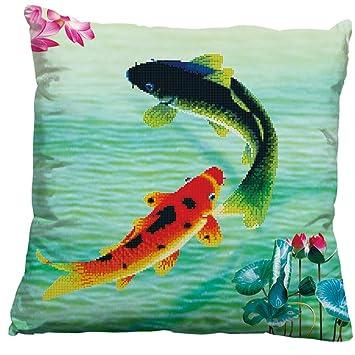 Amazon.com: Un par de peces koi 3d cojín de punto de cruz ...