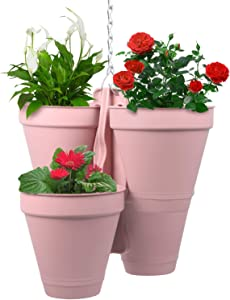 CEED4U Hanging Planters Plastic Vertical Hanging Pot 4-in-1 Hanging Flower Pots Plant Pots with Chain for Home Garden Balcony Porch Patio Office Yard Decor (Pink)