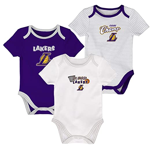 574b142dc94 Outerstuff Los Angeles Lakers NBA 3rd Quarter 3 Piece Creeper Set Onesie  (3-6