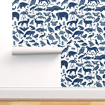 Spoonflower Peel And Stick Removable Wallpaper Animals Linocut Zoo Animals Botanical Nursery Navy Blue Print Self Adhesive Wallpaper 12in X 24in Test Swatch Amazon Com