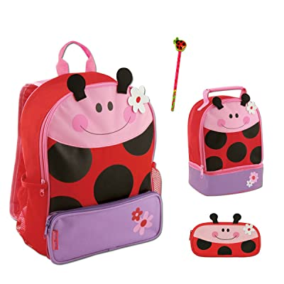 Stephen Joseph Girls Sidekick Ladybug Backpack, Lunch Box, Pencil Pouch and Pencil