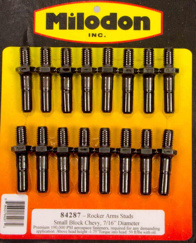 Milodon 84287 7//16 x 1.75 8740 Chrome Moly Rocker Arm Stud Kit for Small Block Chevy and Pontiac