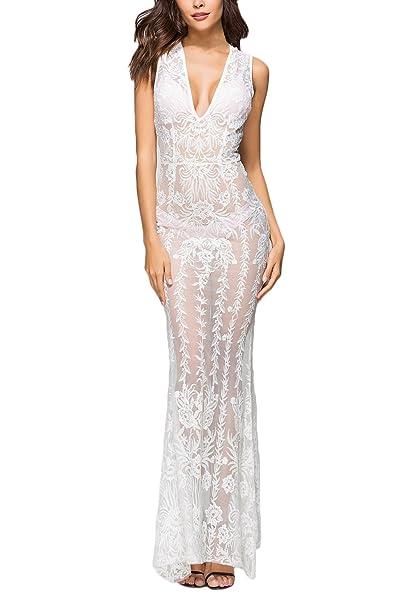 Mujer Vestidos De Fiesta para Bodas Largos Elegantes Modernas Casual Transparentes Encaje Vestidos De Novia Sin