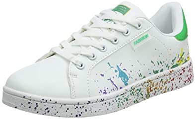 a83cf4dde11 JEDVOO Homme Femme Baskets Mode Classics Lacet Sneakers Basses Fitness  Sport Chaussures de Gymnastique(XCX800Green35