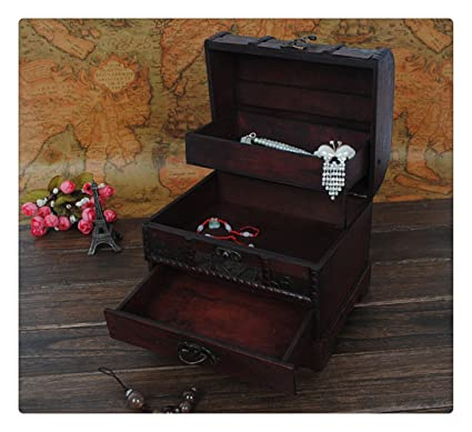 Chinese Vintage Style Jewelry Box Wooden Antique Makeup Storage Box  Dressing Case With Retro Lock (