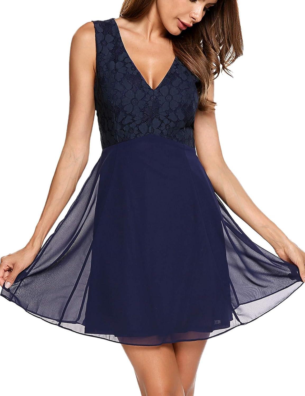Unibelle Womens Chiffon Lace Dress Deep V Neck Sexy Bodice Knee Length Cocktail Wedding Party Dress