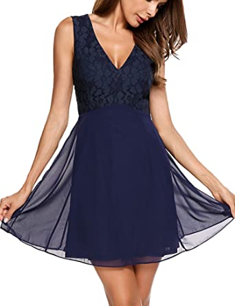 f3a87dc11531 UNibelle Formal Sleevesless Dresses Women's V Neck Chiffon Lace Short  Bridesmaid Evening Party Prom Dress Blue