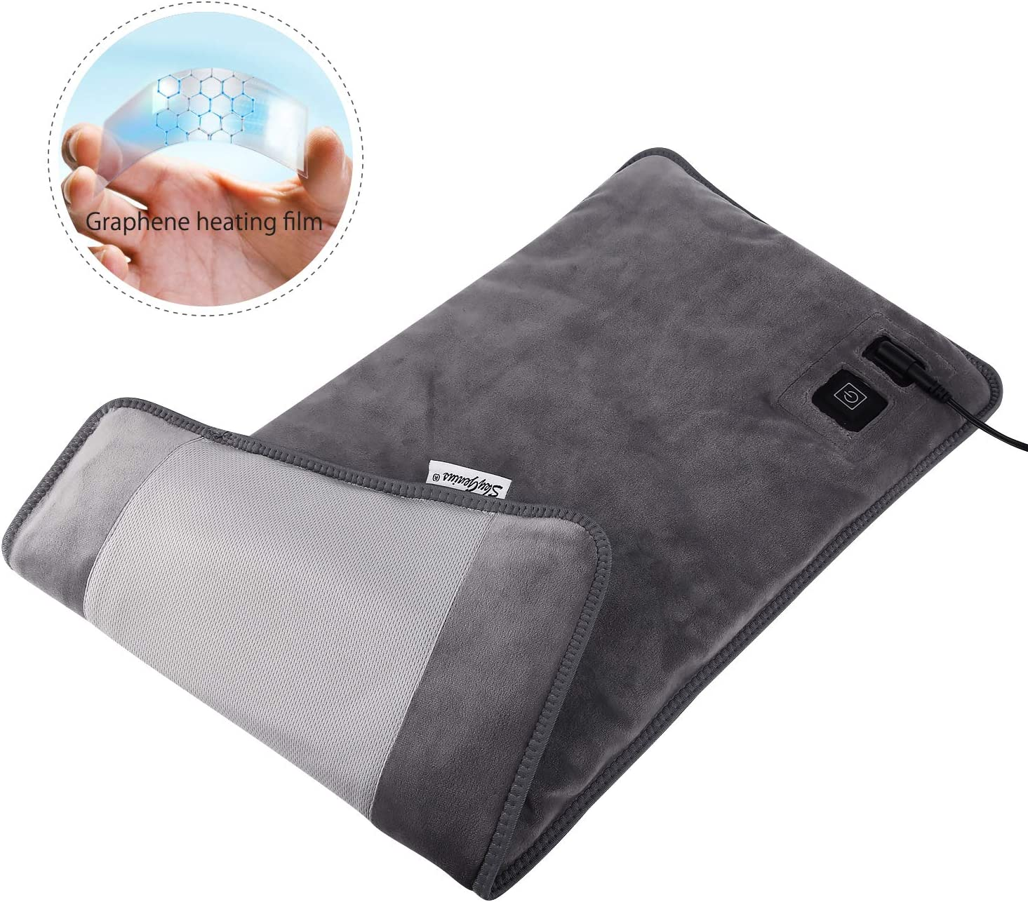 Far Infrared Electric Heating Pad for Back Pain, Heating Pads with Innovative Graphene Heating Films, for Lower Back, Cramps, Pain Relief - Large Size 12 * 24inches