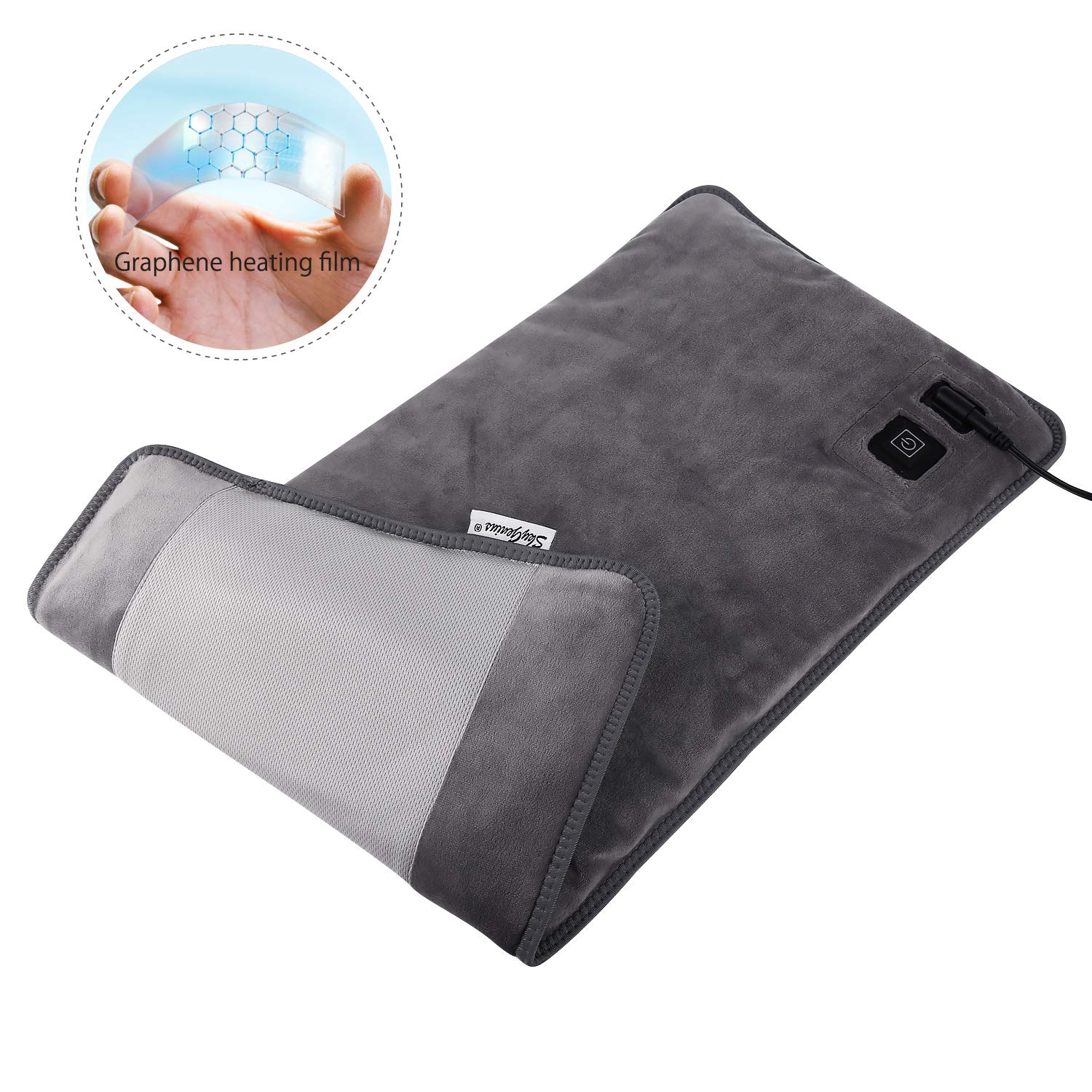 Far Infrared Electric Heating Pad for Back Pain, Heating Pads with Innovative Graphene Heating Films, for Lower Back, Menstrual, Cramps, Pain Relief - Large Size 12 * 24inches by SkyGenius