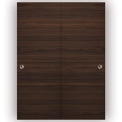 Planum 0010 Interior Closet Double Bypass Door Chocolate Ash No