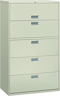 product image for HON 5-Drawer Filing Cabinet - 600 Series Lateral or Legal Filing Cabinet, 42w by 19-1/4d, 5-Drawer, Light Gray (H695)
