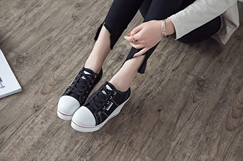 Amazon.com | T-JULY Women Canvas Shoes Wedges Platform Sneakers Height Increasing White Casual Shoes Elevator Zapatillas Mujer | Fashion Sneakers