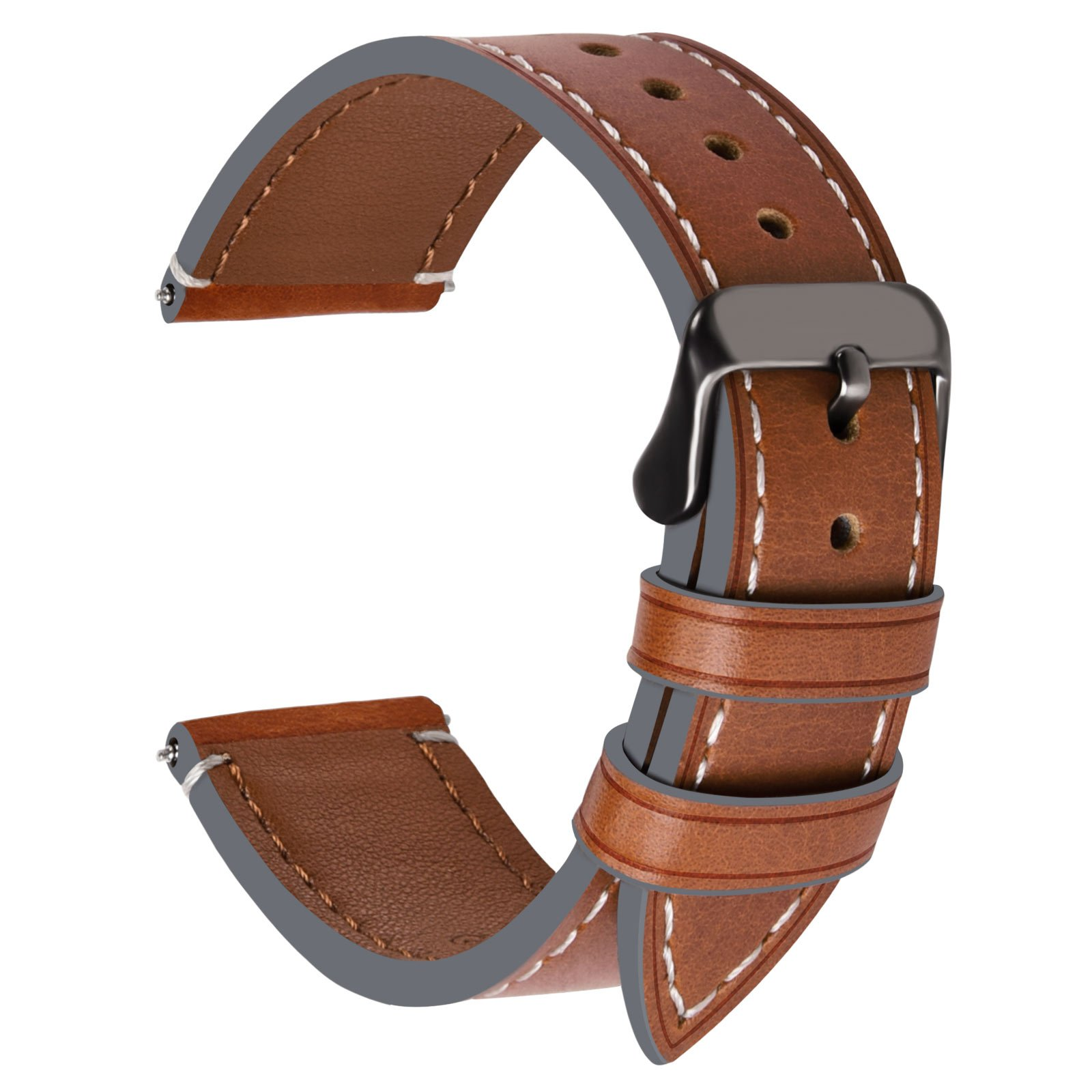 24mm 22mm 20mm 18mm Watch Bands,Fullmosa 4 Colors Top Leather Huawei Watch 1st Watch Band/Strap for Men Women, 18mm Dark Brown + Smoky Grey Buckle