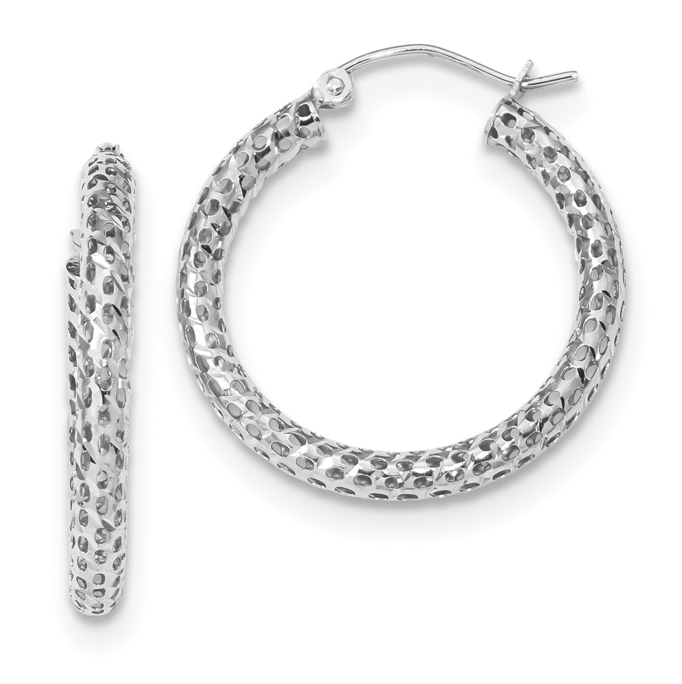 14k White Gold Mesh Hoop Earrings 27.19x25.6mm
