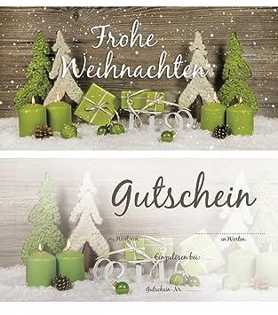 Frohe Weihnachten Text.20 Stuck Weihnachtsgutschein Gutschein Weihnachten Einkaufsgutschein Text Frohe Weihnachten Doppel Seitig 21 X 10 5 Cm Din Lang Hell Grun Grun Weiss