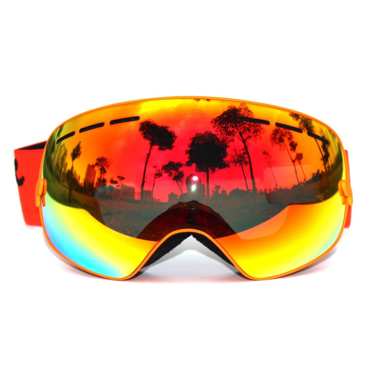 フレームオレンジゴーグルProスキースノーボードゴーグル曇り止めデュアルレンズuv400大きな表示 B071K913S2