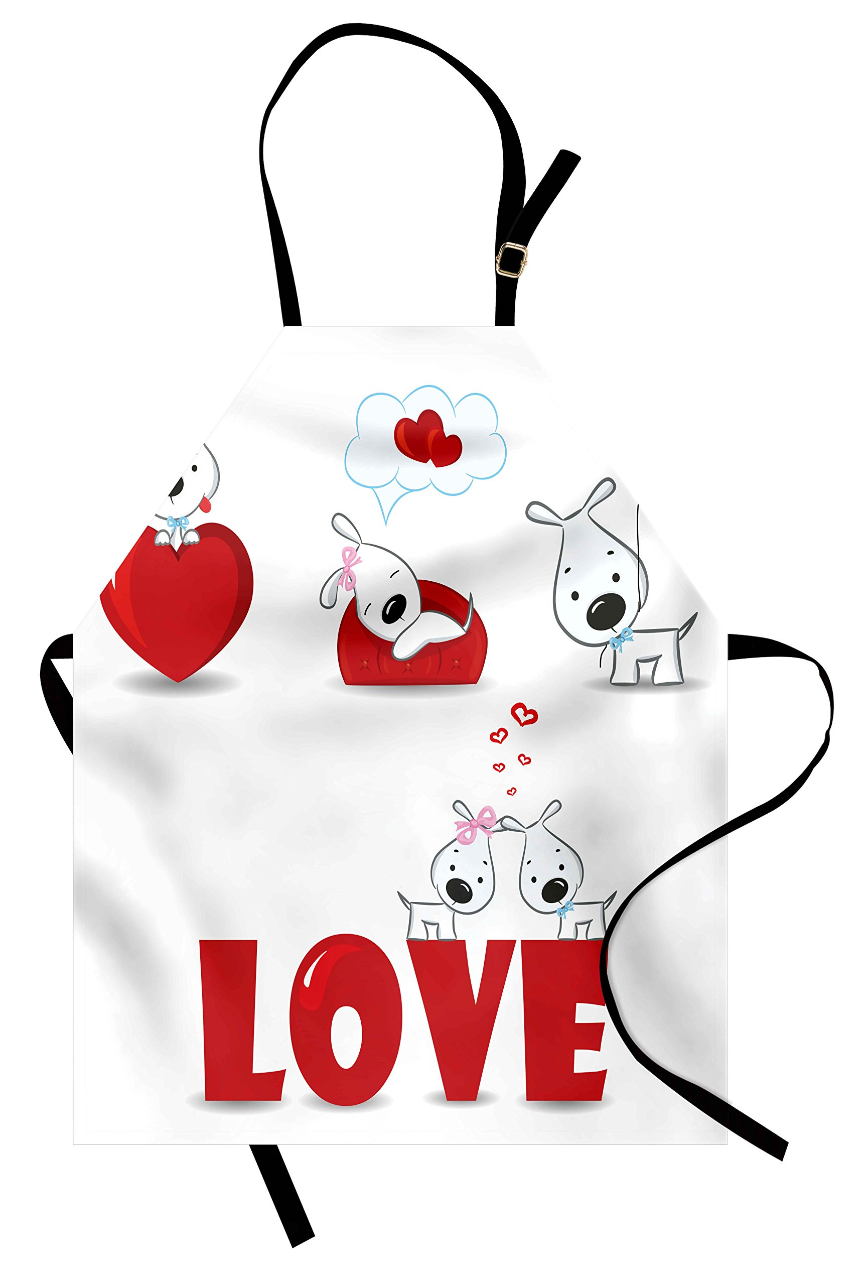 Ambesonne Valentines Day Apron, Puppy Love with Hearts and Dogs His and Hers Heart Balloon Romantic Print, Unisex Kitchen Bib Apron with Adjustable Neck for Cooking Baking Gardening, Red White