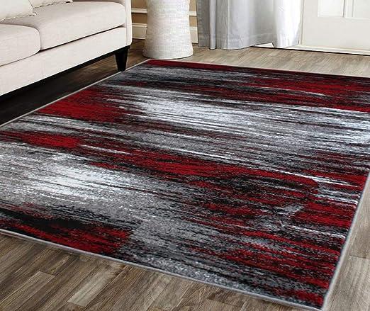 Amazon.com: Masada Rugs, Modern Contemporary Area Rug, Red Grey