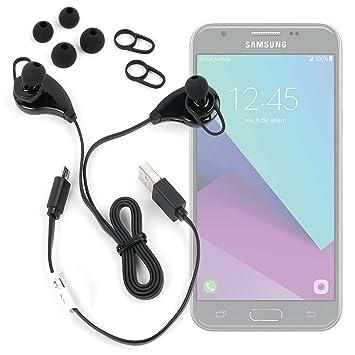 DURAGADGET Auriculares inalámbricos en Color Negro para Smartphone Samsung Galaxy J3, J5 (2017)