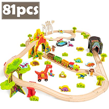 Cossy Dinosaur Theme Wooden Train Set 81 Pcs Railway Tracks Accessories Magnetic Trains Cars For Toddlers Older Kids Large