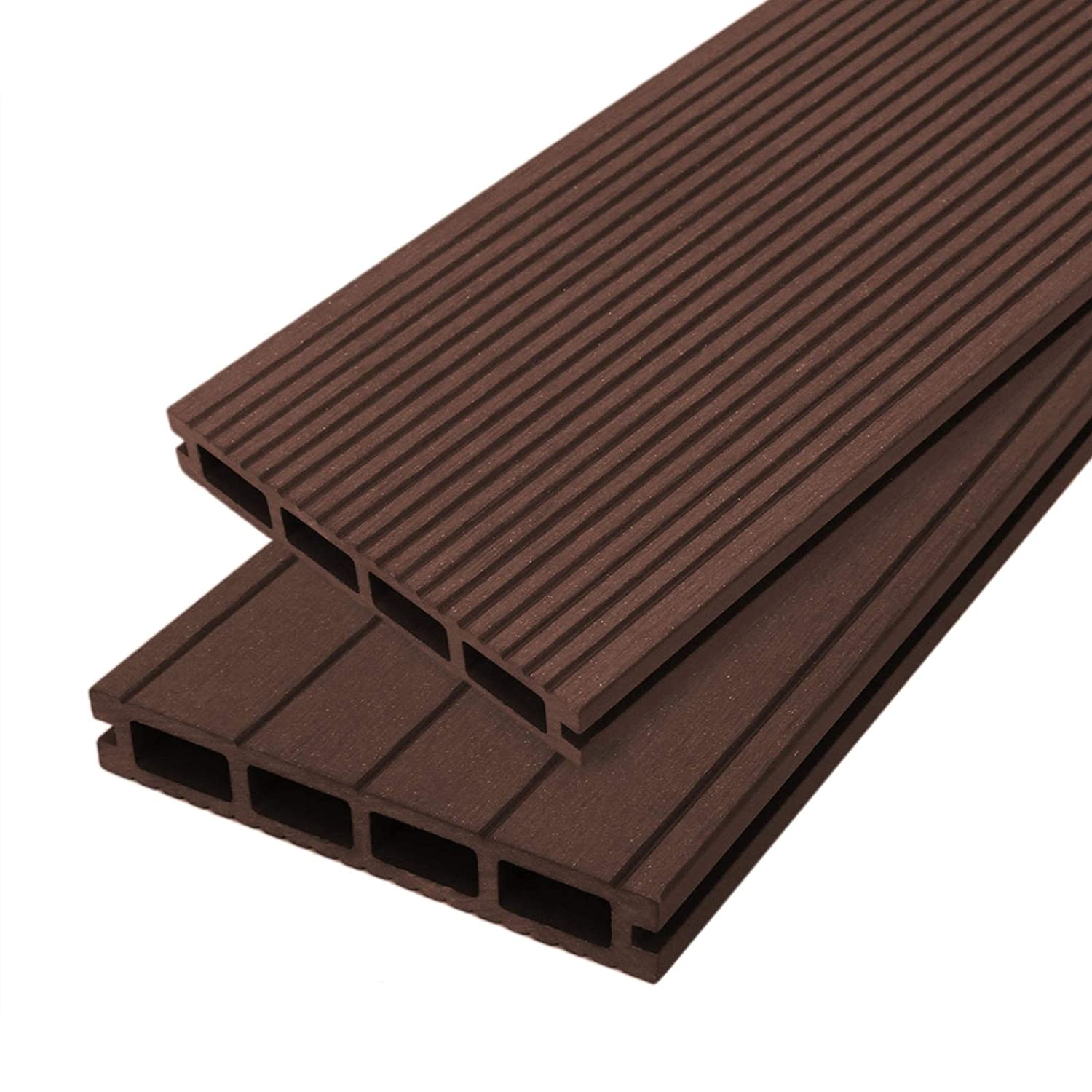 5 SQM Jardí Composite Decking Boards Conker Brown Wood Effect WPC Pack Garden Outdoor Patios Terrace Hot Tub Tiles (incl. Fixing Screws & Clips)(5 SQM)