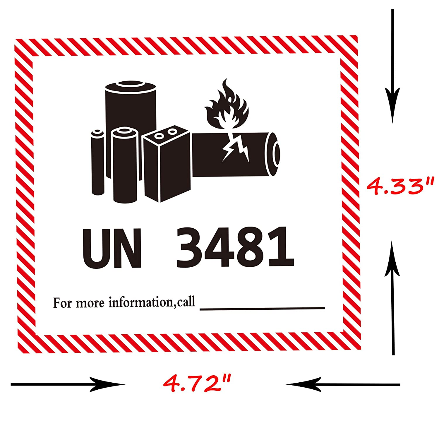 UN 3481 Lithium Battery Labels 4.72 x 4.33 inch Lithium Ion Battery Transport Caution Warning Labels/ 200 Adhesive Stickers/