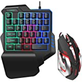 One Hand RGB Gaming Keyboard and Mouse Combo,USB Wired Gaming Keyboard with Wrist Rest and Backlit Gaming Mouse for…