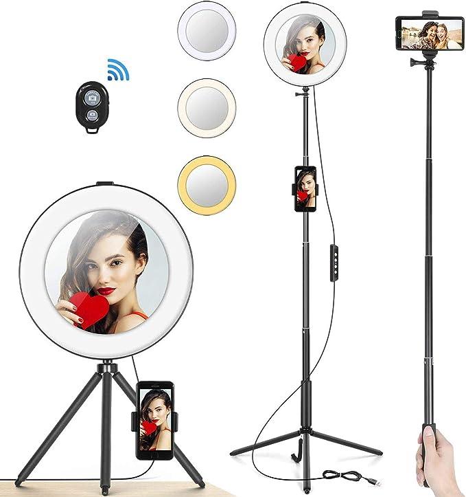 """Maquillaje Anillo de Luz 8/"""" MACTREM Aro de Luz LED Regulable para Selfie Fotograf/ía Ring Light con Tr/ípode Soporte para Mov/íl V/ídeo Palo Selfie y Espejo para Youtube Foto Negro Tel/éfono"""
