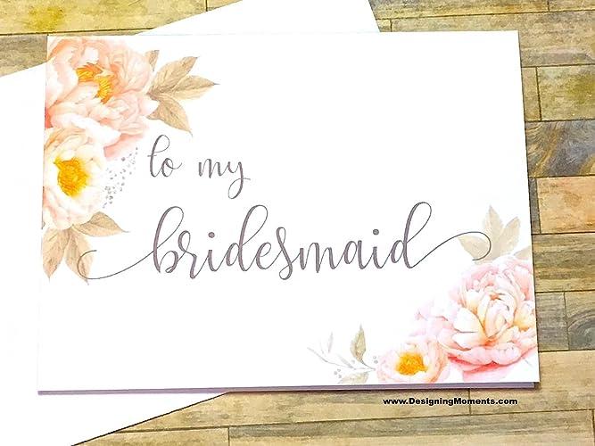 amazon com bridesmaid thank you card to my bridesmaid wedding