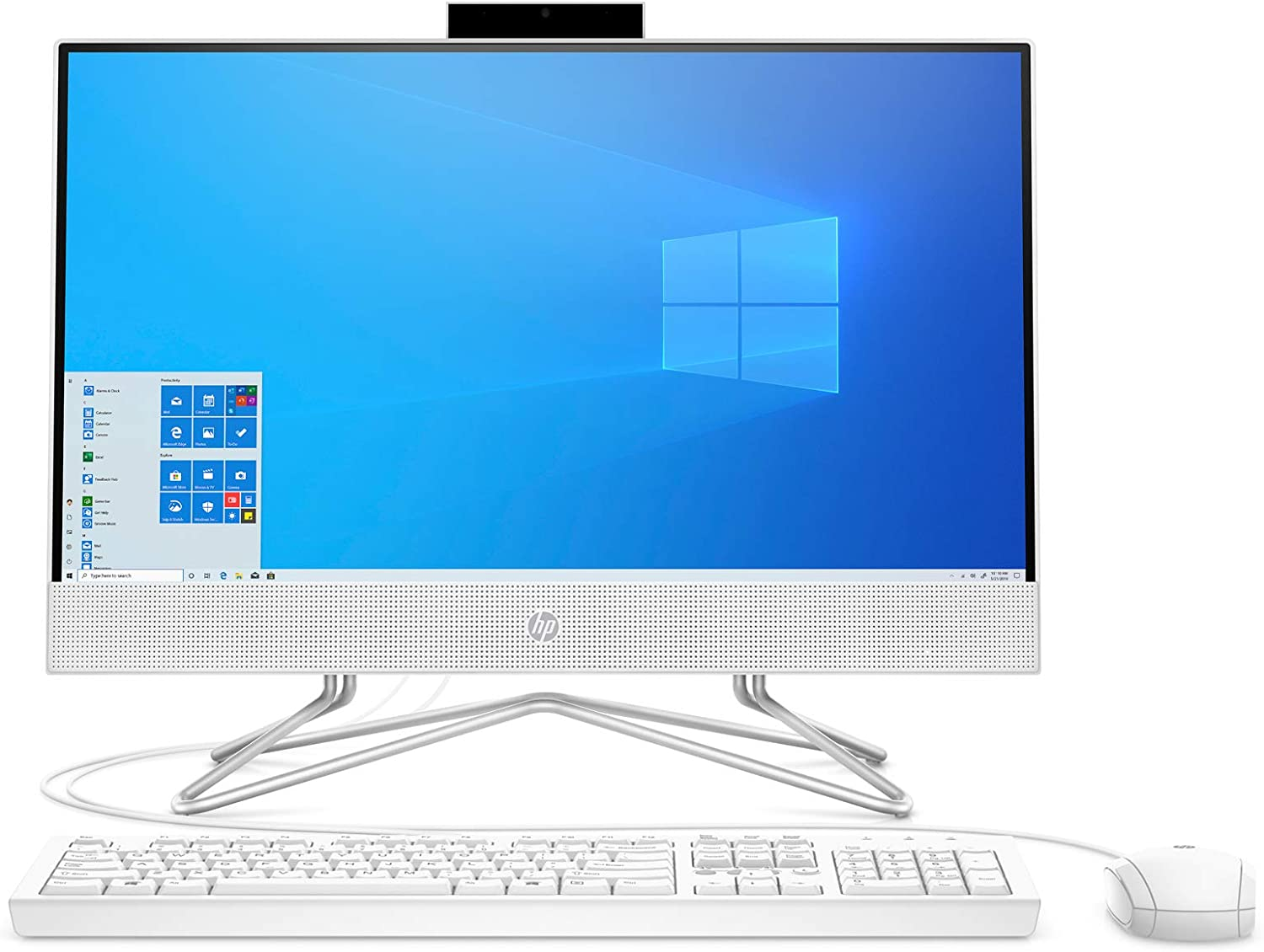 HP Pavilion All-in-One 22-inch Computer, AMD Athlon Gold 3150U, AMD Radeon Graphics, 4 GB RAM, 256 GB SSD, Windows 10 (22-df0022, Snow White) (13Z67AA#ABA)