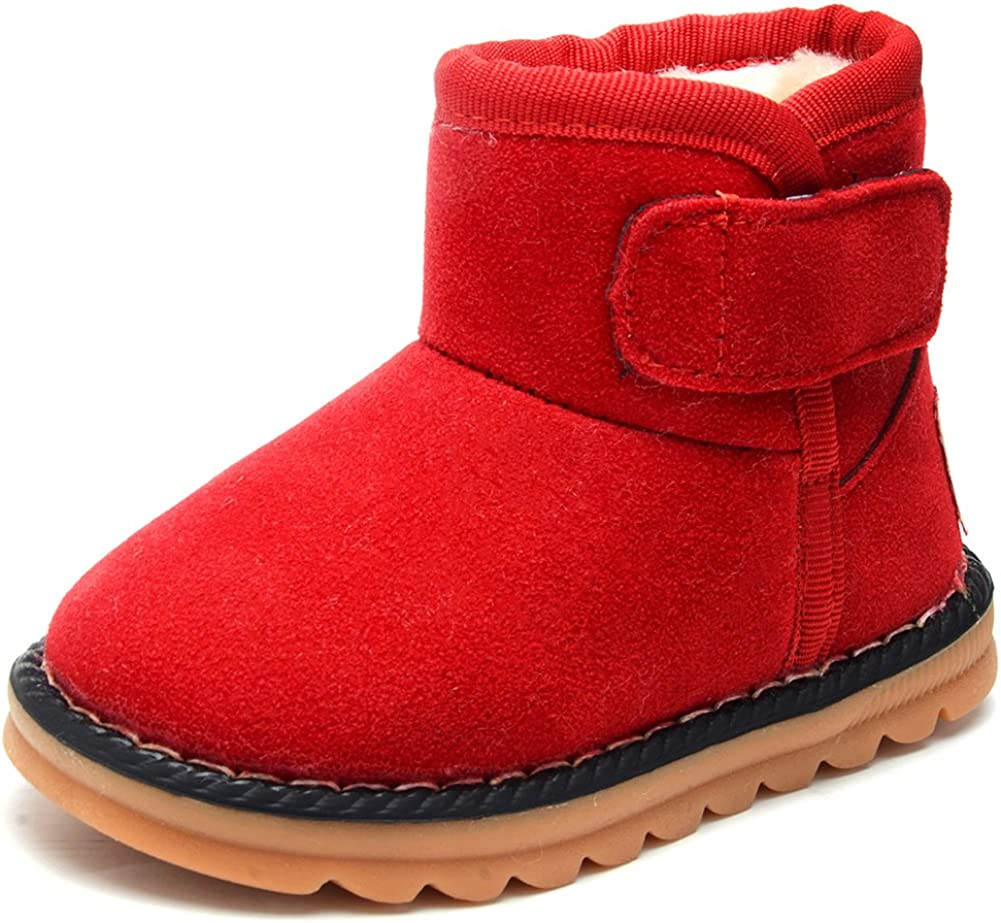 UBELLA Toddler Boys Girls Winter Warm Fur Slip-on Flats Snow Boots