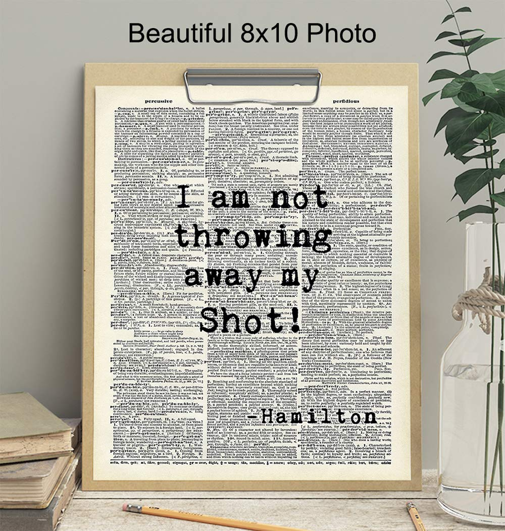 Motivational Home Decoration for Bedroom Hamilton Quote Gift for History Fans Hamilton Poster Upcycled Dictionary Print Office Living Room 8x10 Inspirational Wall Art Decor