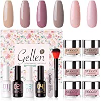 Gellen Dip Powder Nail Starter Kit 6 Colors - Dipping Powder Acrylic Dipping System Essential Tools, No Nail Lamp Needed…