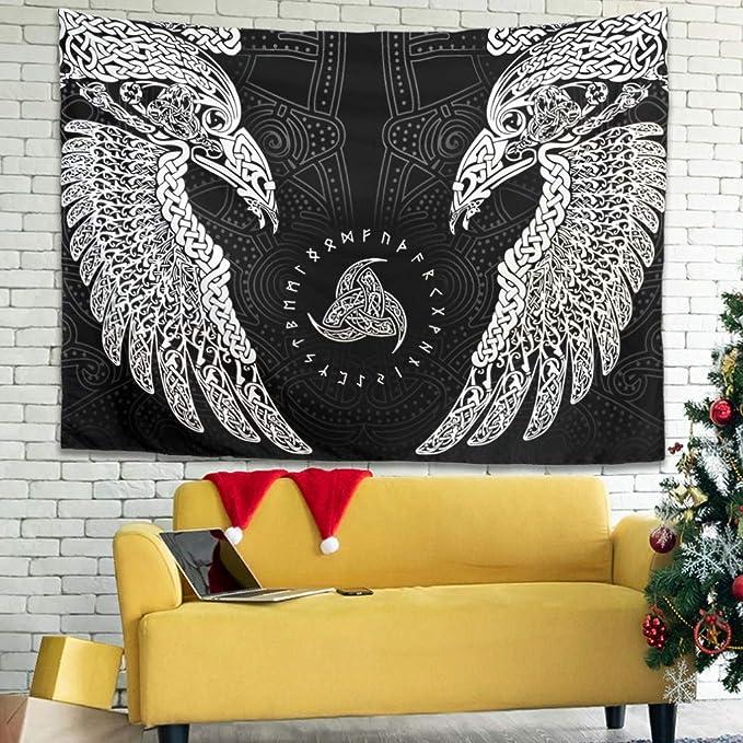 Tapiz /étnico vikingo de bosque celta 59 blanco cuervo dos mitolog/ía n/órdica decoraci/ón de pared 40