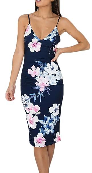 Vestidos Mujer Verano De Fiesta Cortos Casual Elegantes Baratos Vestido De Cóctel Sin Mangas Dresses Señoras Moderno Impresión Floral Slim Fit Vestir De ...