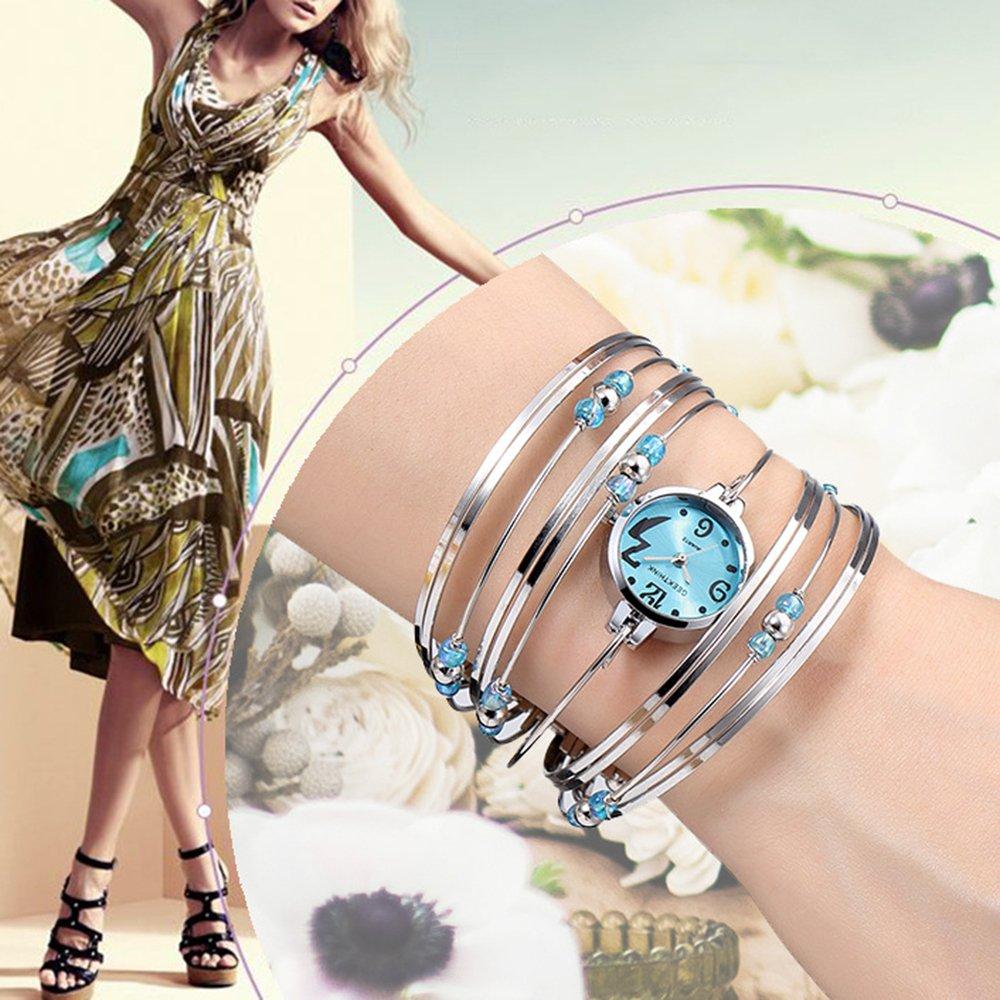 Womens Quartz Bracelet Watch Fashion Analog Multilayer Stainless Steel Ladies Jewelry Watches Women Wristwatch on Sale (Blue) by AEHIBO (Image #4)