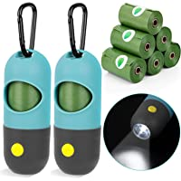 Dog Poop Bags Holder with LED Flashlight, 2pcs Puppy Pickup Bags Dispenser with Carabiner Clip & 6 Rolls Pet Waste Bags…