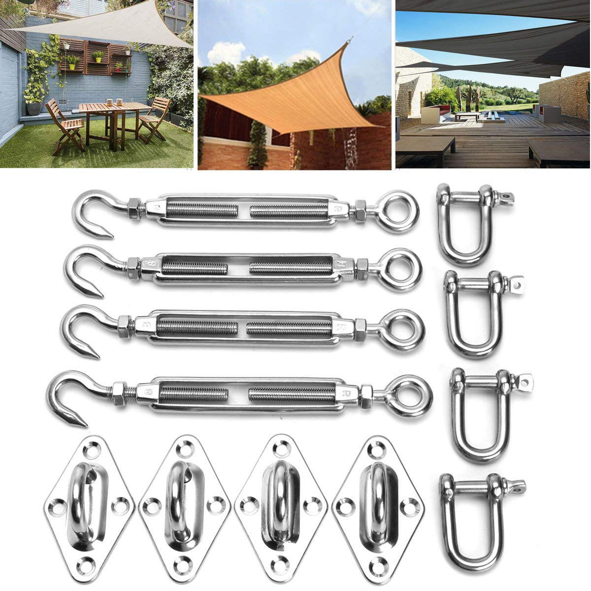 QHYXT M8 Sun Shade Sail Accessory Installation Kit,Stainless Steel Heavy Duty Hardware Kit for Triangle Rectangle Sails Anti-Rust for Outdoor Wall Fixing Mounting by QHYXT